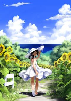 向日葵の花を持って君を待ってます